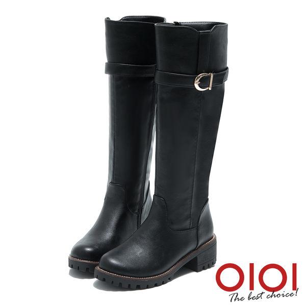 長靴  經典首選金屬皮帶長筒跟靴(黑) *0101shoes【18-1798bk】【現貨】