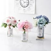 仿真花擺件小清新假花盆栽北歐家居客廳花束裝飾塑料花餐桌花擺設 【PINKQ】