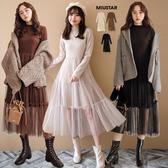 現貨-MIUSTAR 立領素面軟絨磨毛蛋糕紗裙洋裝(共3色)【NG002187】