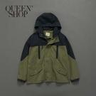 Queen Shop【02071092 】撞色拼接工裝拉鍊外套 1/2*現+預*