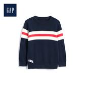 Gap男幼童 可愛圖案圓領長袖針織衫489375-藏青色