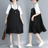 孕婦裝 MIMI別走【P521039】雅緻簡約 假兩件拚接雪紡連身裙 孕婦裙 吊帶裙