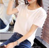2018春裝圓領韓版寬鬆T恤女 純色學生短袖莫代爾體恤白色班服上衣「時尚彩虹屋」