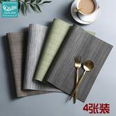 4片裝餐墊餐桌墊歐式PVC西餐隔熱墊餐臺長方形日式杯墊碗墊盤墊子