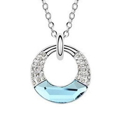 925純銀項鍊  水晶墜飾-鑲鑽短款生日母親節禮物女飾品5色73aj1【巴黎精品】