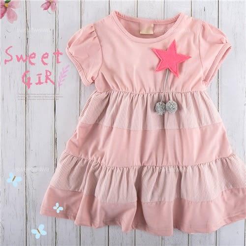 粉嫩拼接棉質短袖上衣小洋裝(270084)★水娃娃時尚童裝★