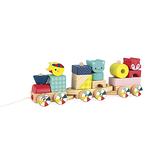 【法國 Janod】J08022 經典設計木玩 動物積木火車