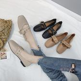 平底鞋 豆豆鞋女2019新款夏季平底奶奶鞋復古淺口單鞋軟皮方頭瑪麗珍鞋子 3色35-40