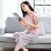 睡衣女夏季短袖純棉七分褲家居服套裝兩件套少女韓版清新學生寬鬆 愛麗絲精品