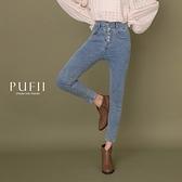 限量現貨◆PUFII-牛仔褲 五排釦高腰顯瘦窄管褲牛仔褲-1027 現+預 秋【CP19335】