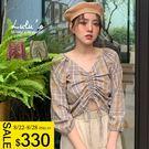 LULUS特價-L格紋中抽繩縮口袖上衣-2色  【01190581】