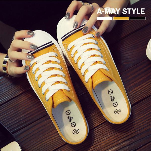 穆勒鞋-韓版條紋風貝殼鞋懶人帆布鞋