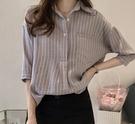 DE shop - 條紋小口袋翻領七分袖襯衫 - GU-6493