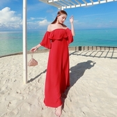 波希米亞長裙-荷葉邊一字領優雅氣質洋裝73sg76[巴黎精品]