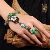 民族風手鍊連戒指一體鍊琉璃景泰藍配飾裝飾品復古中國風手背鍊女潮