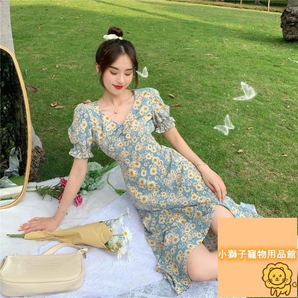 短袖顯瘦中長款裙子夏季小雛菊短袖連身裙女【小狮子】