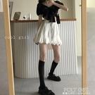 白色顯瘦蓬蓬A字裙女裝減齡短裙韓版百搭高腰半身裙學生裙子 poly girl