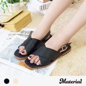 涼鞋 交叉寬帶平底涼鞋 MA女鞋 T4870