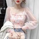 限時特價 很仙的上衣女秋裝新款時尚洋氣修身顯瘦氣質方領拼接蕾絲襯衫