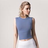 瑜伽服 健身無袖上衣女緊身彈力短款露臍性感時尚速幹跑步運動瑜伽T恤