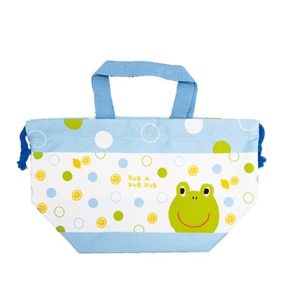 【日本製】【Rub a dub dub】午餐盒束口袋 青蛙圖案(一組:3個) SD-9156 - Rubadubdub