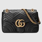 【雪曼國際精品】GUCCI GG Marmont V型絎縫皮革鍊帶包 443497 DTDIT 1000 (黑色)~26CM尺寸~新品現貨