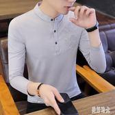 POLO衫 2019新款男士長袖t恤秋季潮流韓版上衣服男裝polo打底小衫  zh8824『美好時光』
