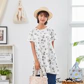 【Tiara Tiara】百貨同步新品aw全  花朵印花長版上衣(白/灰/黃棕)