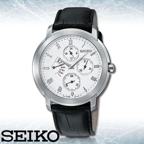 SEIKO 精工手錶專賣店 SRL009P1 男錶 石英錶 皮革錶帶 礦物防刮玻璃 防水50米 日期星期顯示窗 24制
