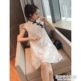 夏裝新款寬鬆復古改良盤扣旗袍洋裝女神范氣質中國風蕾絲裙子潮  聖誕節免運