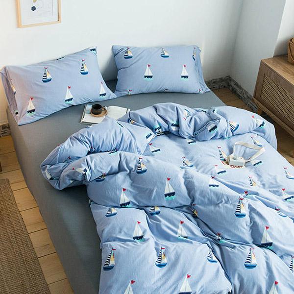 純棉針織床包被套組-加大-帆船藍【BUNNY LIFE邦妮生活館】
