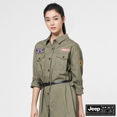 【JEEP】女裝個性軍裝風長版長袖襯衫-軍綠