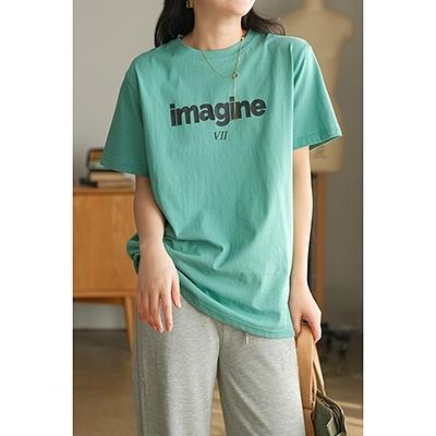 純棉字母印花短袖T恤 圓領直筒套頭衫/3色-夢想家-0308
