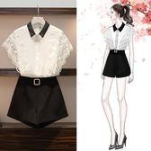 促銷價不退換無袖上衣熱褲套裝XL-5XL中大尺碼33574女裝時尚洋氣套裝拼接蕾絲衫短褲兩件套