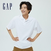 Gap男裝 厚磅密織系列復古休閒寬鬆純棉POLO衫 697680-白色