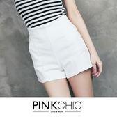 短褲 高腰雪紡壓線口袋顯瘦短褲 - PINK CHIC - 22109