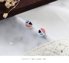 925純銀‧幾何三色圓形.耳飾 e90706-1