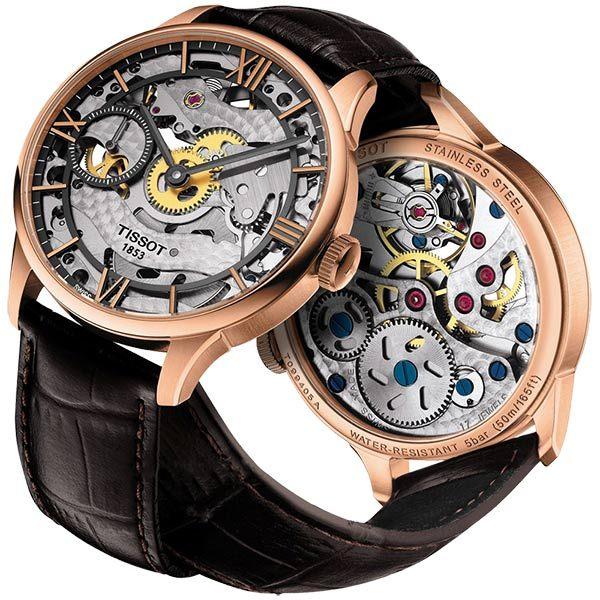 TISSOT 天梭 T-Classic 羅馬精湛鏤空手動上鍊手錶-玫瑰金框x咖啡色錶帶-43mm T0994053641800
