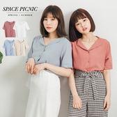 短袖 襯衫 Space Picnic|預購.小V領翻折領排釦短袖襯衫【C18041086】