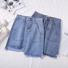 韓版高腰牛仔裙半身裙 不規則短裙