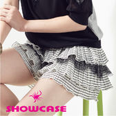 【SHOWCASE】條紋壓褶蛋糕層次蕾絲褲裙/短裙(黑)