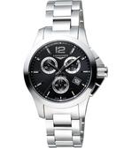 LONGINES 浪琴 Conquest 征服者300米潛水計時腕錶/手錶-黑/36mm L33794566