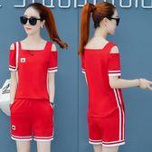(工廠直銷不退換)587#新款夏季女裝寬松短袖短褲時尚兩件套跑步服休閑套裝女ZM-2FB150-A韓依戀