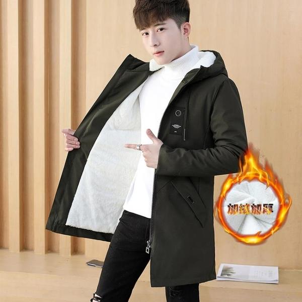 2020新款外套男韓版加絨加厚夾克男士風衣中長款帥氣春季衣服潮 藍嵐