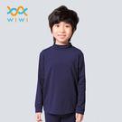 【WIWI】MIT溫灸刷毛立領發熱衣(湛海藍 童70-150)