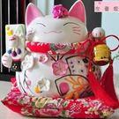 時尚花季財富令招財貓 大號儲蓄罐陶瓷結婚擺件 開業禮品手工藝禮品擺設