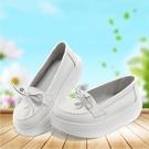 搖搖鞋 春夏護士鞋女白色厚底鬆糕坡跟搖搖鞋真皮媽媽鞋工作單鞋軟底舒適 寶貝計畫 618狂歡