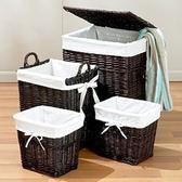 新品柳編洗衣籃大號臟衣籃藤編收納筐收納桶帶蓋子編織筐igo  韓風物語