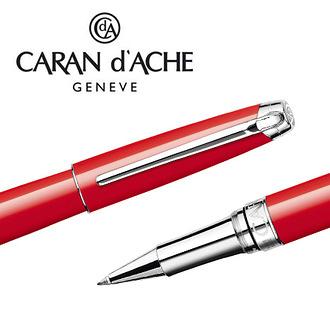 CARAN d'ACHE 瑞士卡達 LEMAN 利曼亮紅漆鋼珠筆(銀夾) / 支