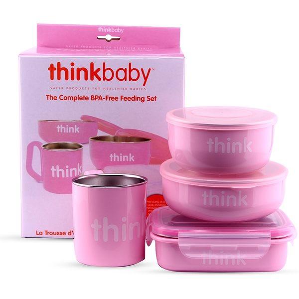 美國Thinkbaby不鏽鋼餐具4件組-粉